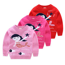 Baby Girls Sweaters Knit Pullover Tops Red Color Spring Autumn Winter Mermaid Pattern Cotton Tops Size for 3 4 5 6 7 years old