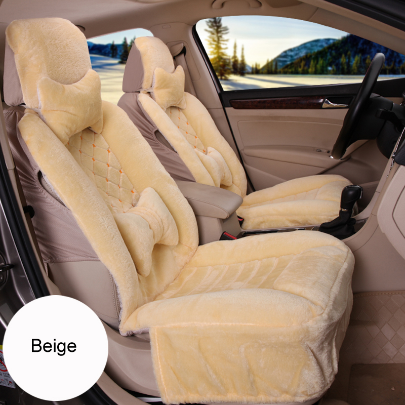 Faux Plush  Car Seat Cover With Fixed Lumbar Support  Car Seat Covers Pad Winter Plush Seat Cushion Interior Accessories hot sale baby car auto safety seat belt harness shoulder pad cover children protection car covers car cushion support car pillow