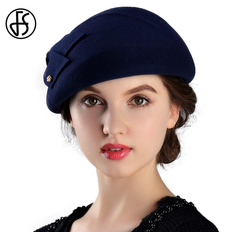 FS Hiver 100% Laine Feutre Bérets Français Pour Femmes Mode Artiste Boina Arc Chapeau Vintage Fedora Bleu Gorras Planas Plat bouchon Femelle