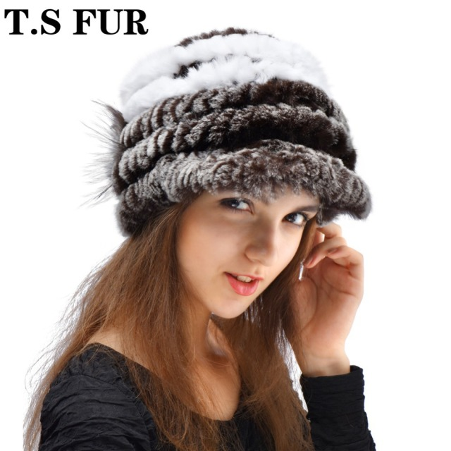 2016 New Women Real Rabbit Fur Hat Fashion Knitted Genuine Rex Rabbit Fur Cap Winter Warm Natural Fox Fur Headgear Beanies