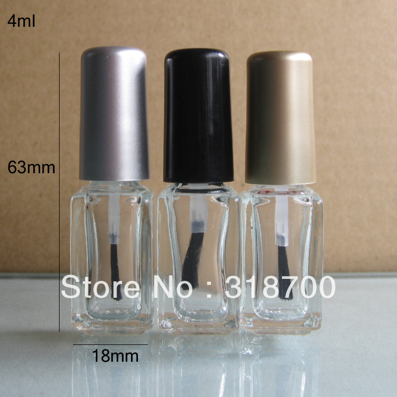 4ml 200pcs/lot factory wholesale square empty nail polish bottle bottles with black,gold,silver lid