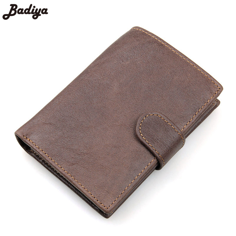 Vintage Clutch Men Genuine RFID Anti-Scanning First Layer Of Real Leather Mens High-Capacity Multi-Card Bit Short Wallet