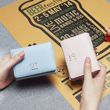 2019 Women SHORT Clutch Wallets Female Fashion PU Leather Cartoon Coin Bag Mini Purses Famous Designer Lady Cards Holder Wallet недорого