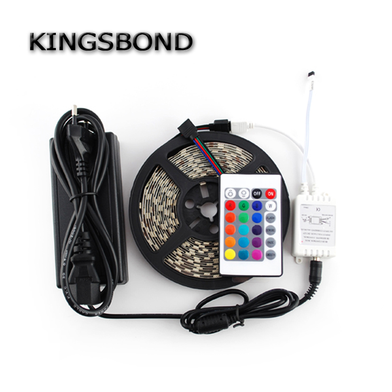 LED 5050RGB LED strip 300chips Non waterproof and 24 key controller LED strip kit with 5A adapter fish and chips