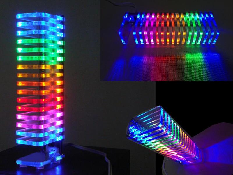 Zirrfa 3pcs Diy Light Cube LED Music Spectrum Level Display Electronic Production DIY Tower KS16 Fantasy Crystal Sound Column