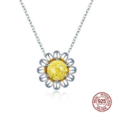 Daisy Flower Necklace For Women Sterling Silver Firework Stone Crystal Short Choker Necklaces Accessories Scn184