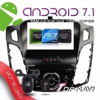 Topnavi 8 ''Android 7.1 штатную для Focus 2012 автомобильной Бесплатная Географические карты обновление GPS навигации 3G Wi Fi Bluetooth Радио тюнер
