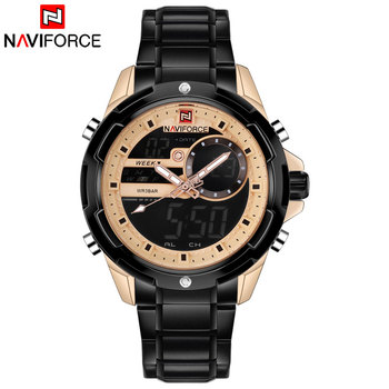 NAVIFORCE 9120 Men Sports Watches Waterproof Steel LED Digital Watch Mens Analog Quartz Wrist Watch with box