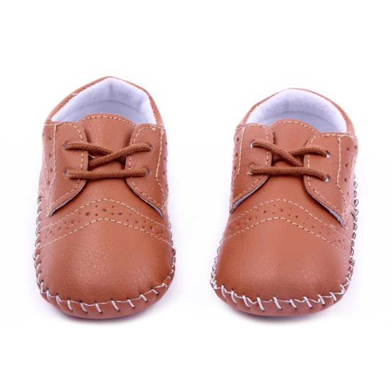 White Color Baby PU Leather Crib Shoes Kids Soft Sole Toddler Shoes 0 12Months