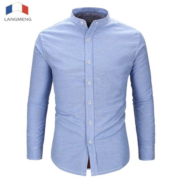 Slim fit solid color mandarin collar casual shirts 2