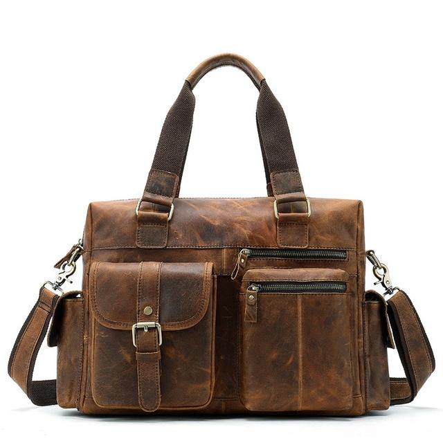 Brand Business Men Briefcase Genuine Leather Laptop Briefcase Bag Male Shoulder Bag High Quality Retro Tote Men's Bag