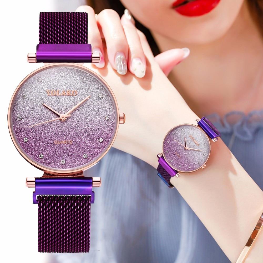 Women Magnet Buckle Gradient Starry Sky Diamond Watch Luxury Ladies Stainless Steel Quartz Watches YOLAKO Brand Clock