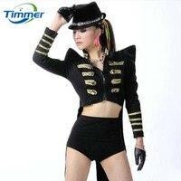 Dance Costume Paillette Danse Thong Bodysuit Swallow tailed Coat Fashion Rave Clothes Tuxedo Female Singer Jazz Dance Costumes
