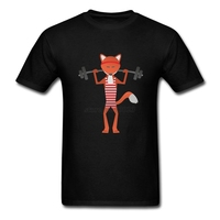 Plus Size Cartoon Fox Lifting Weights Men STailored T Shirts Short Sleeve Cotton Custom Group T