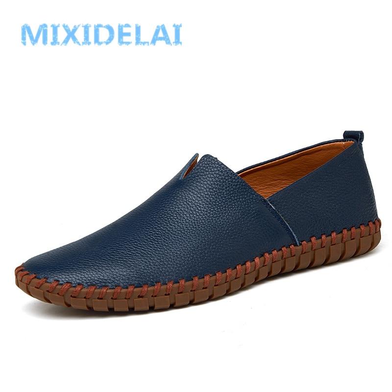 MIXIDELAI genuino de cuero de vaca mocasines para hombre de moda hecho a mano mocasines de cuero suave Slip azul en barco de los hombres zapato PLUS tamaño 38 ~ 48
