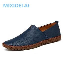 Mixidelai genuíno couro de vaca dos homens mocassins moda mocassins feitos à mão couro macio azul deslizamento em sapato de barco masculino mais tamanho 38 38 48