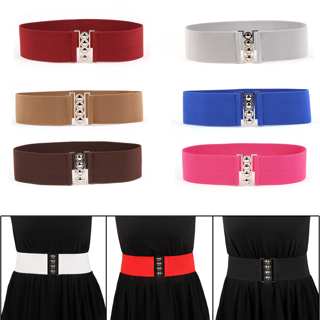 9 Colors Vintage Belts For Women Waistband Stretch Elastic Metal Buckle Ladies Wide Clasp Waist Belt Accessories For Drees