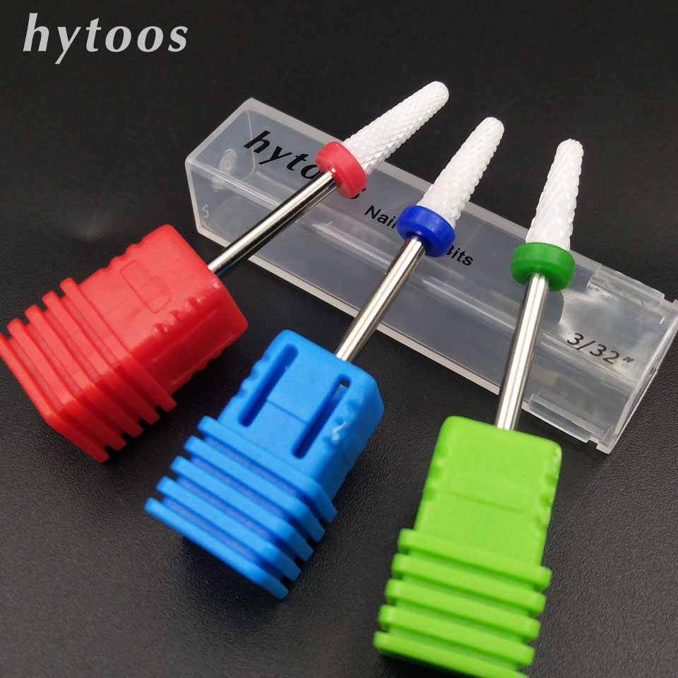 HYTOOS Ceramic Nail Drill Bit 3/32 Rotary Burr Bits For Manicure Pedicure Electric Drill Accessories Nail Tools Milling Cutter hytoos tungsten carbide nail drill bit 3 32 rotary burr milling cutter manicure pedicure tools nail drill accessories h0413p