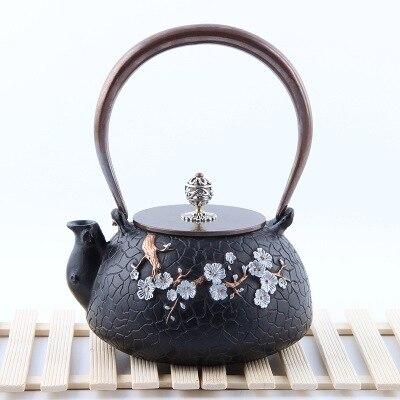 Чугунный чайник Здравоохранение цветок сливы чай чугунок чайный набор Инкрустированные серебром изысканный ретро