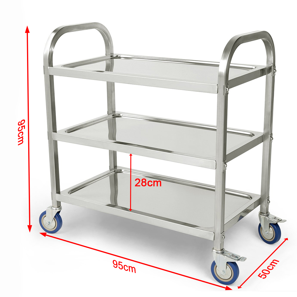 New 3 Tier Carrito Cocina Hotel Restaurant Kitchen Trolley Clearing Trolley Large Stainless Steel Catering Kitchen