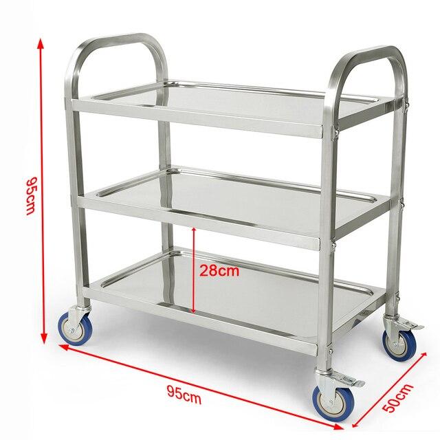 Carlito cocino chariot de cuisine à 3 niveaux, chariot de cuisine, Restaurant, grand de traiteur en acier inoxydable, HWC