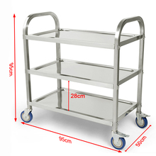 New 3 Tier Carrito Cocina Hotel Restaurant Kitchen Trolley Clearing Trolley Large Stainless Steel Catering Kitchen Cart HWC