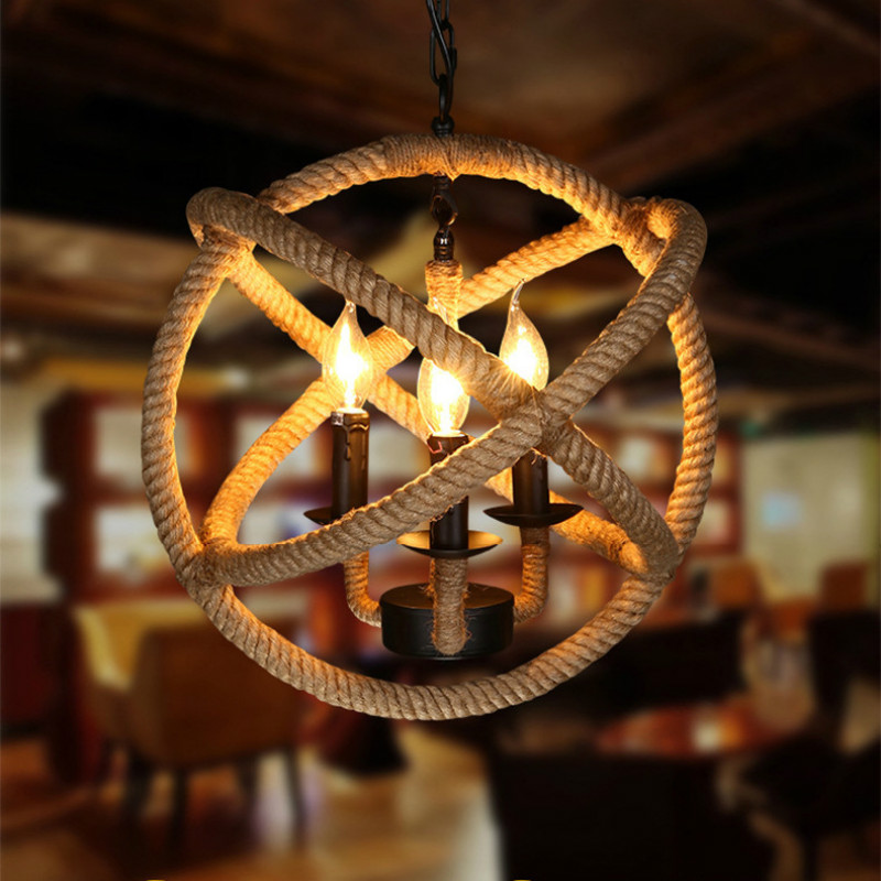 LED Retro hemp rope chandelier home decorated with spherical hemp lights personalized restaurant lighting IY113140 new in stock ve j62 iy vi j62 iy