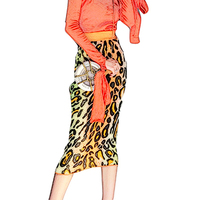 2019 Spring Knitted Skirts Sexy High Waist Leopard Pencil Skirt Female Pack Hip Midi One Step WOmen Skirts faldas mujer moda