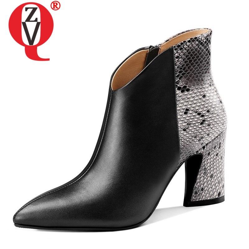 Ayakk.'ten Ayak Bileği Çizmeler'de BAĞLANTı KÖPRÜSÜ Marka ofis karışık renkler Yılan Derisi desen hakiki inek deri yarım çizmeler kış bahar süper yüksek topuk peluş kadın ayakkabı'da  Grup 1