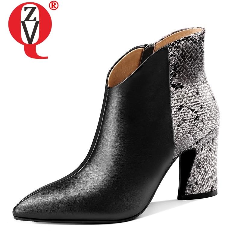 ZVQ marque bureau couleurs mélangées peau de serpent motif véritable vache en cuir bottines hiver printemps super haut talon en peluche femmes chaussures-in Bottines from Chaussures    1