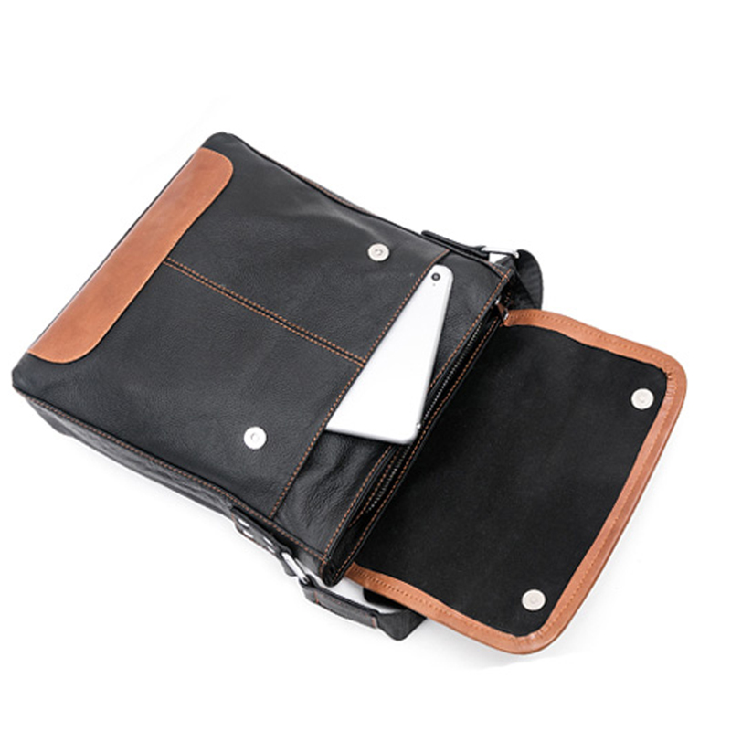 Leather Mens vertical internal interval Messenger Shoulder soft bag flip School South Korea business documents free