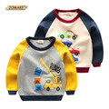 De dibujos animados coche decorado niños camisetas de la manera del remiendo de la manga para niños trajes de primavera 2017 bebé ropa niños clothing