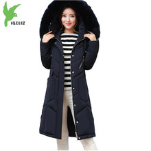 Boutique Women Winter Down Cotton Long Coat New Fashion Hooded Fur Collar Casual Costume Plus Size Thick Slim Jacket OKXGNZ A920