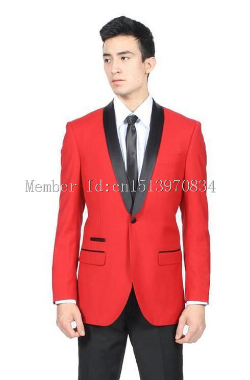 Custom Made One Button Red Groom Tuxedos Shawl Lapel Groomsmen Men ...