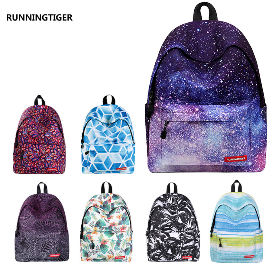 Supreme Big capacity Women Art Oil Painting Backpack Floral Flower Eastpack Scenery Space Printed School Bag For Teenager Girls iarts aha072962 hand painted thick texture of knife painting trees oil painting red 60 x 40cm