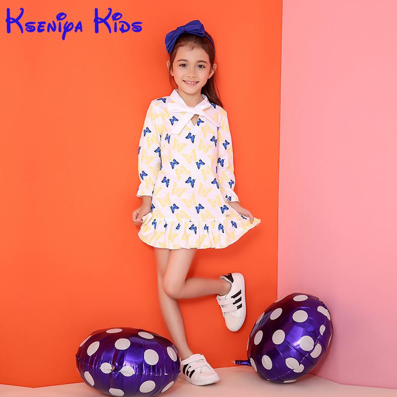 2016 Autumn New Girls Dress Korean Cotton Sleeve Children Kids Dresses For girls Clothes Flower Girl Clothing Princess