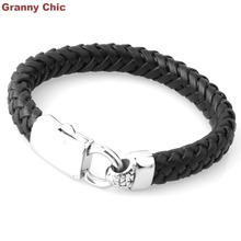 Fate Love Cool Black Leather Mens Braided 316L Stainless Steel Bracelet Christmas Gift 9″
