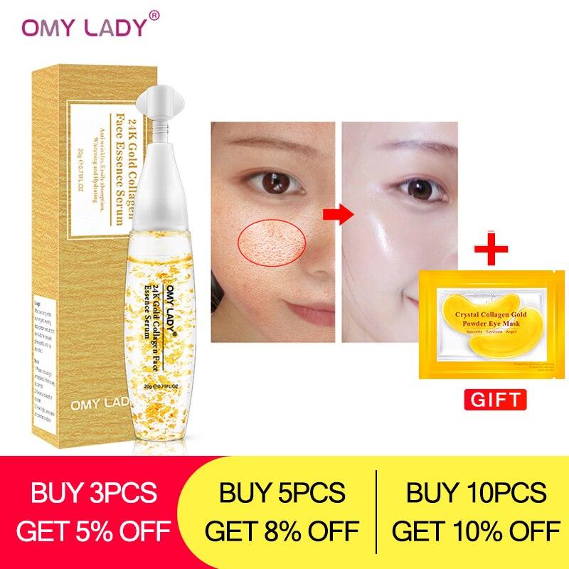 Omylady 24k Gold Silver Foil Serum Skin Care Essence Agless Face Care Moisturizing Nourishing Serum Lifting Firming Anti Wrinkle