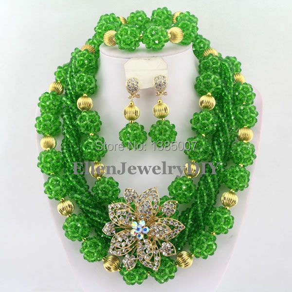 Green African Beads Jewelry Set Crystal Beads Necklace Set African Jewelry Set Crystal Jewelry Set W6596 set peperuna set