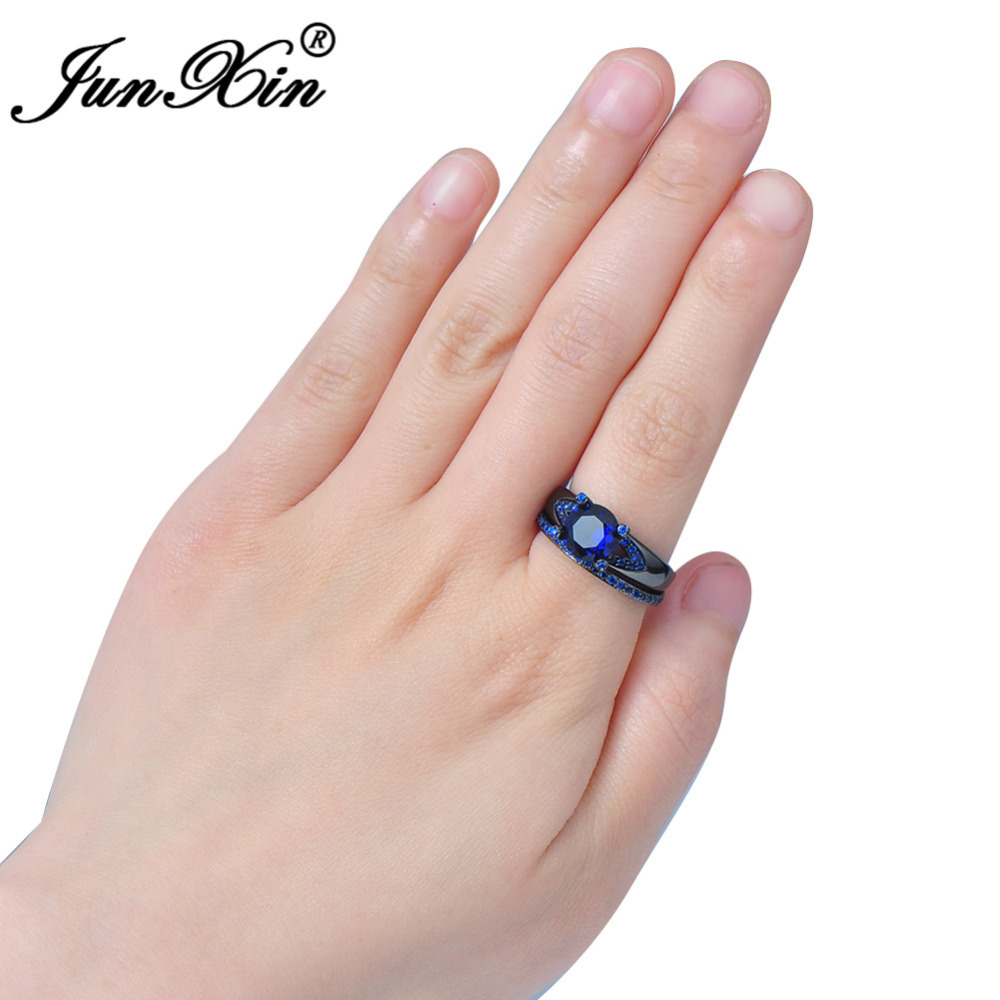 JUNXIN Retro Vintage Blue Zircon Rings For Women Men Black Gold ...