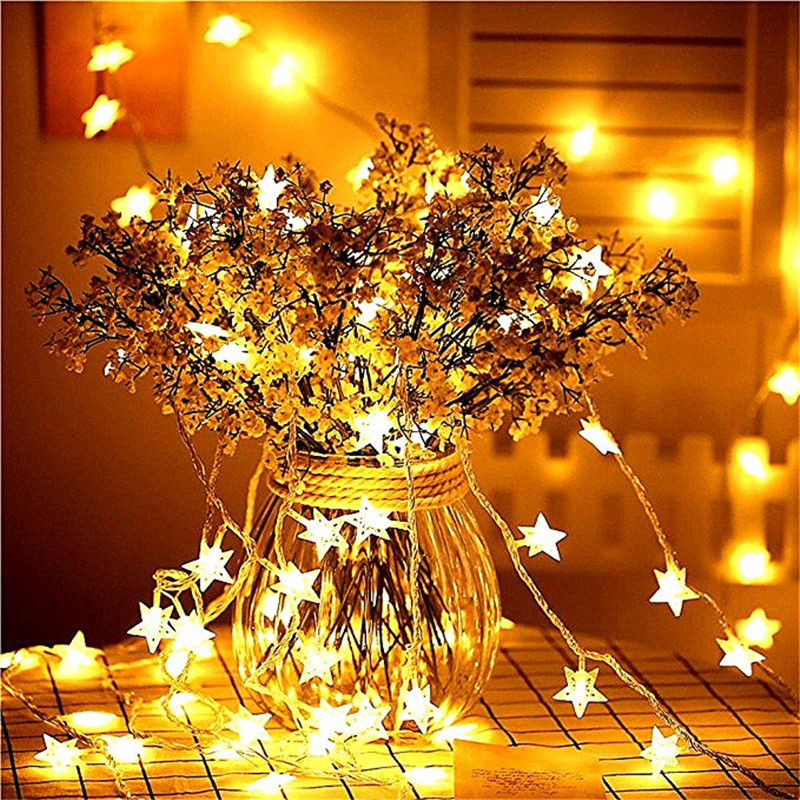 2018 New Year 1.5M 3M 6M LED Star String Lights Fairy Garland Waterproof For Christmas Wedding Home Decoration Battery Powered цена