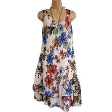 2019 Summer New Sleeveless Double Print V-neck Dress S-5XL