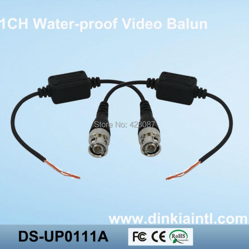 100pcs/lot  Waterproof  UTP twisted pair single channel CCTV Passive video balun CAT5,  3 years warranty,DS-UP0111A single channel passive video balun grey silver 2 pcs