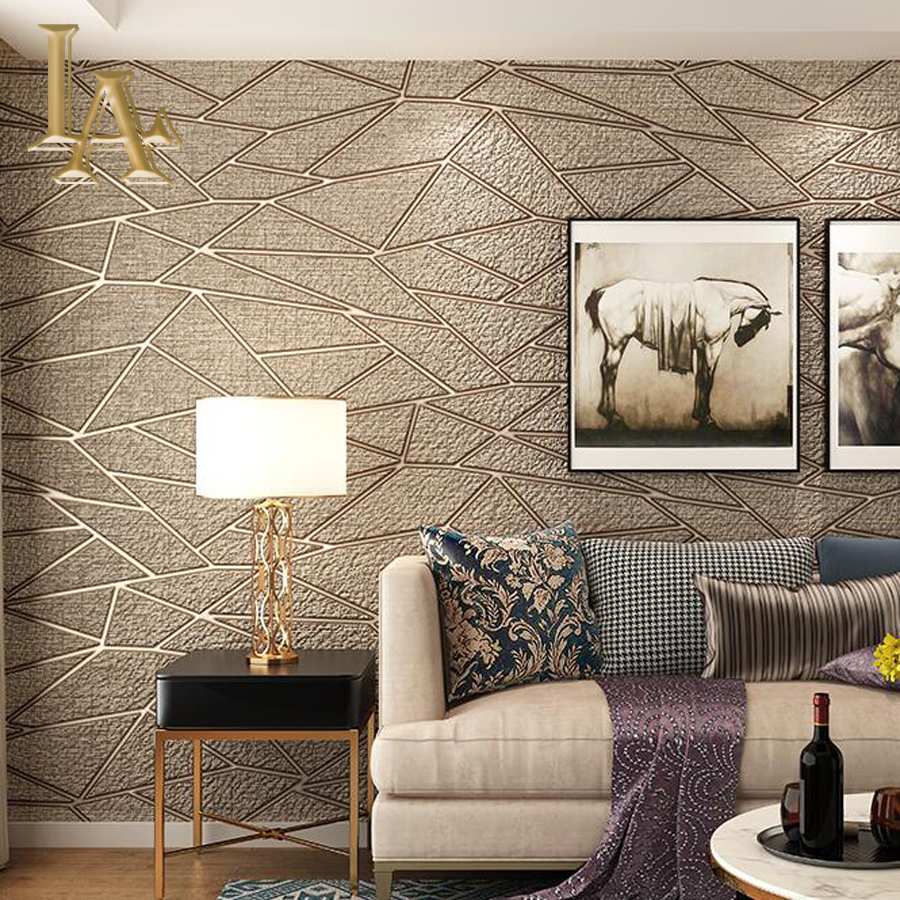 Haute Qualité Épais Floqué Moderne Géométrie 3D Papier Peint Pour Les Murs décor À La Maison Mur Rouleaux De Papier Pour salon Canapé TV fond