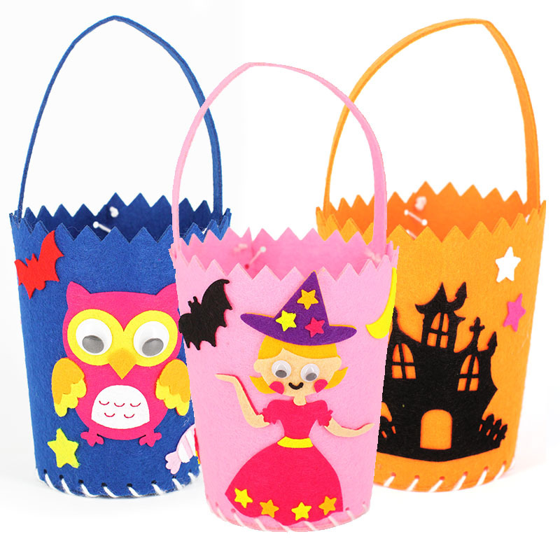 Halloween DIY Goodie Bag Kids Carry Pumpkin Bags Kindergarten Craft Toys DIY Handmade Material Package Candy Basket Props