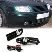 Areyourshop Bumper Grille Grill with Driving Fog Lamp Light For VW JETTA BORA MK4 TDI 99 04 Car Bumper Grill Driving Fog Lights