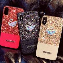 2018 Последняя мода Роскошные Diamond Bling блестящие Лебедь чехол для iPhone 6 6S Plus 7 7 P 8 8 P х Мягкий мобильного телефона дело Капа
