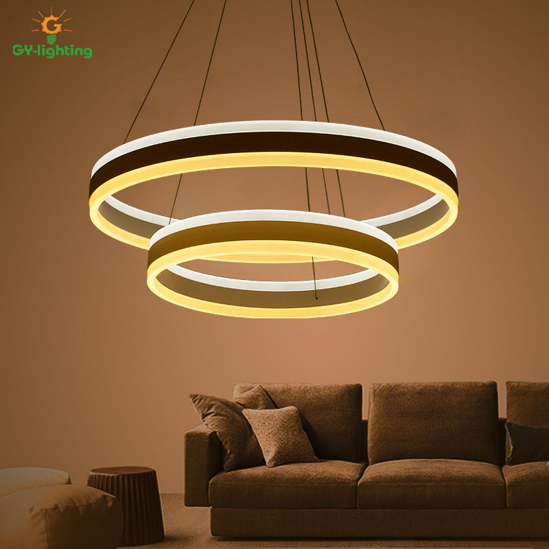 Modern simple living room lights led circular double art dining lights high - grade hall complex floor pendant light lamps a1 led living room dining modern pendant lights ring fashion personality creative pendant lamp art bedroom hall pendant lamps