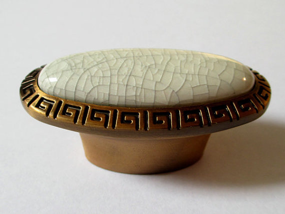 Drawer Pulls Handles Knob Metal Ceramic White Crackle Antique Bronze Kitchen Cabinet Handle Knobs Furniture Door Hardware