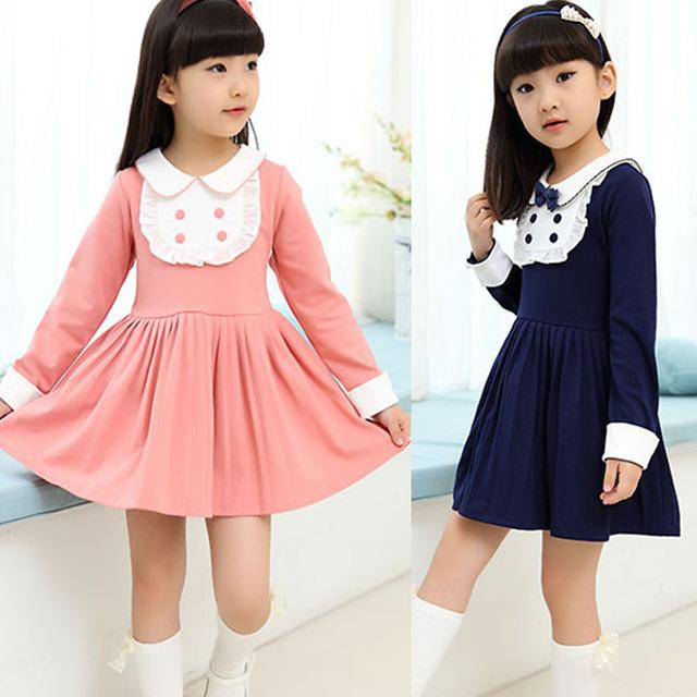 2016 Chegada Nova Vento Colégio Bonito Roupa Dos Miúdos Vestidos para Meninas Da Escola Vestido estilo Crianças Roupas de Algodão Vestido de Manga Comprida